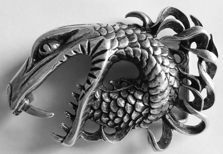 Midgard-Schlange, 4cm, silberfarbene Schließe